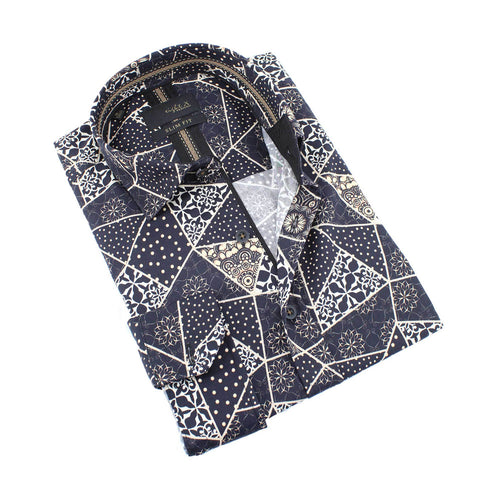 Men's slim fit black collar button up dress shirt with gold fractured design