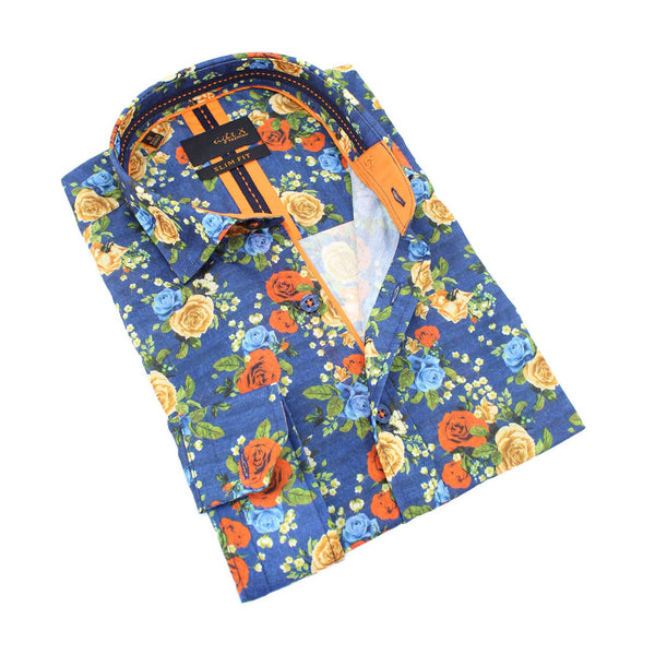 Men's slim fit navy collar button up dress shirt with orange yellow blue rose print