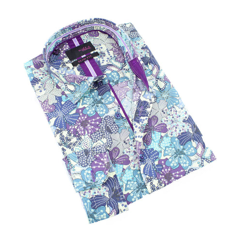 Men's slim fit white collar button up dress shirt with purple and blue flower print