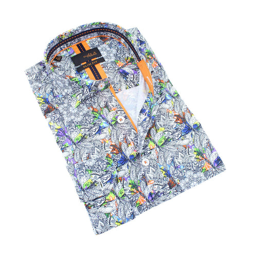 Men's slim fit white button up collar dress shirt with colorful mandala floral print