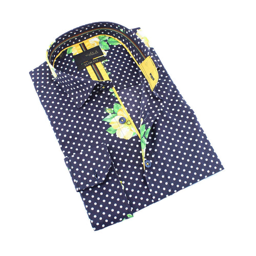 Men's slim fit navy blue polka dot and yellow floral print collar button up dress shirt