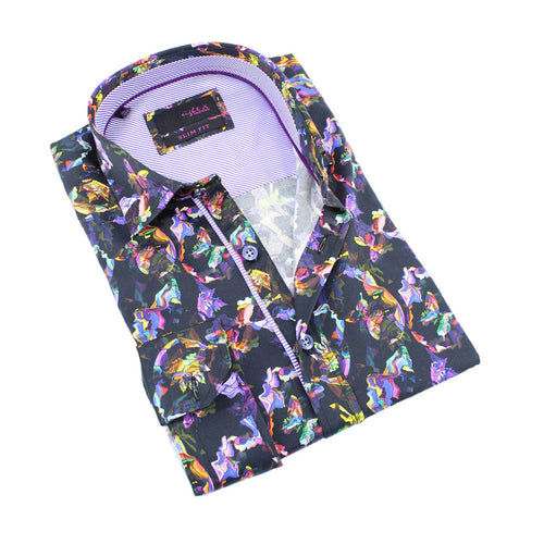 Men's slim fit multi colored abstract butterfly digital print collar button up dress  shirt