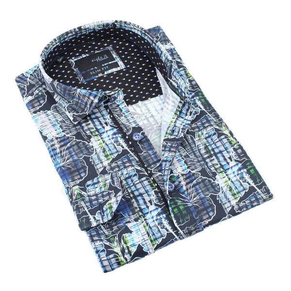 Men's slim fit hibiscus gingham print collar button up dress shirt