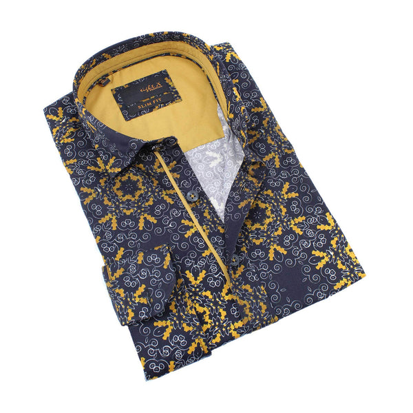 Men's slim fit black and gold collar button up dress shirt with geometric print and gold trim