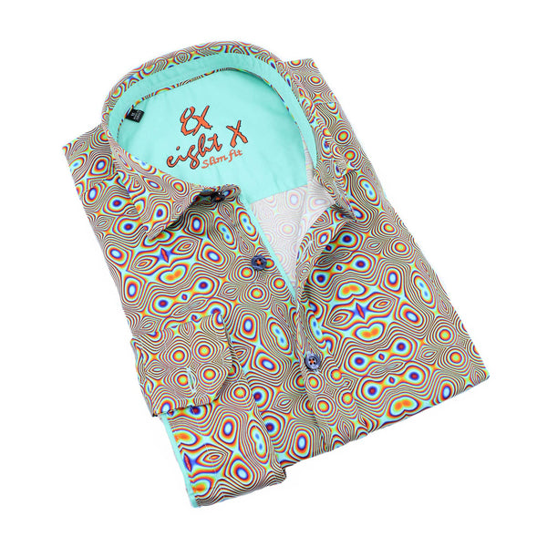 Men's slim fit green retro print psychedelic groovy digital print collar button up dress shirt