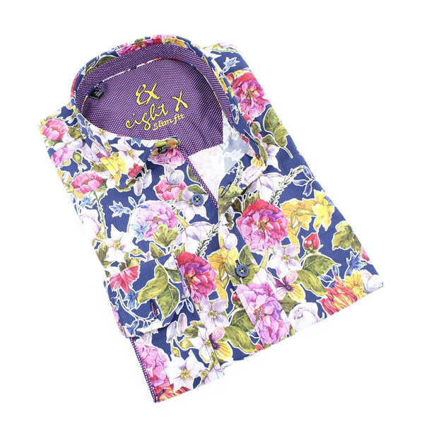 Men's slim fit colorful floral bold digital print collar button up dress shirt