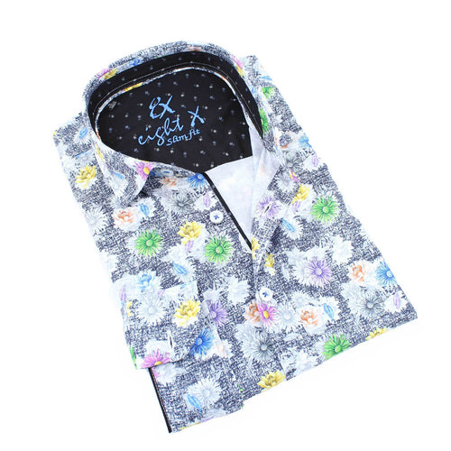 Men's slim fit black button up collar dress shirt with distressed floral pattern print