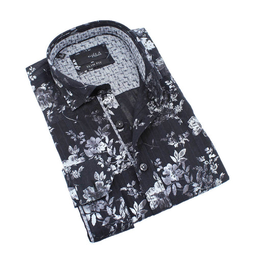 Men's black slim fit collar button up dress shirt with gray metallic digital print with pattern trim