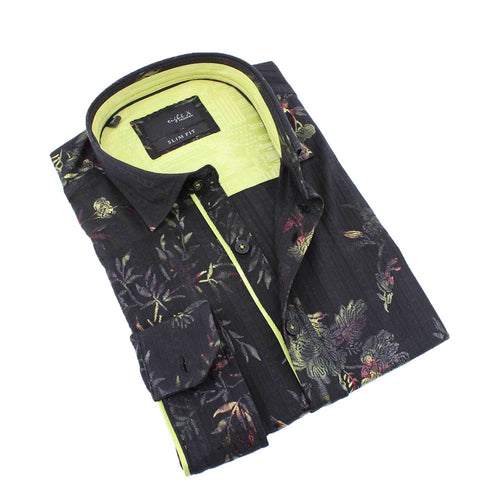 Men's black slim fit collar button up dress shirt with elegant abstract floral digital print and lime green trim