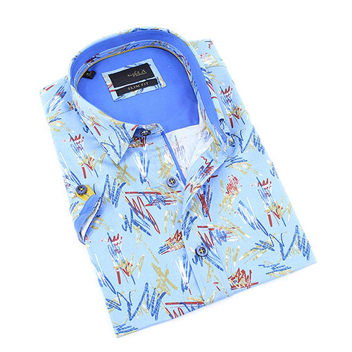 Light Blue 90's retro scribble print short sleeve slim fit button up with collar and contrasting trims