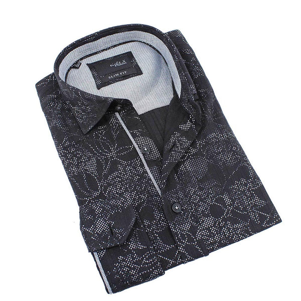 Men's slim fit black digital print design collar button up dress shirt with gray trim