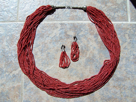 Southwest Authentic Navajo Deep Red Coral Necklace with Earrings - 25 strands - 31""