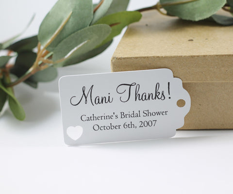 White Bridal Shower Favor Tags with Mani Thanks Set of 20