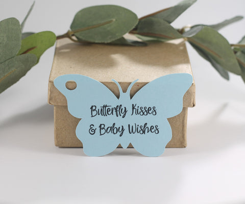 Light Blue Butterfly Shaped Tags - Butterfly Kisses and Baby Wishes (Set of 20) - The Paper Medley