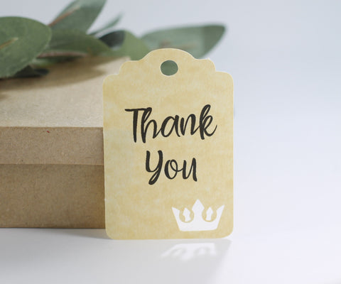Antique Gold Thank You Tags with Tiara for Girl's Party (Set of 20) - The Paper Medley