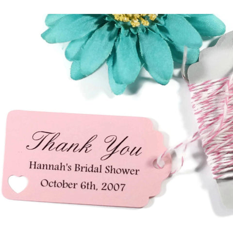 Small Pink Bridal Shower Favor Tags Set of 20 - The Paper Medley