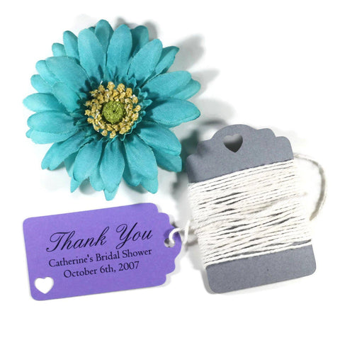 Purple Bridal Shower Thank You Favor Tags Set of 20 - The Paper Medley