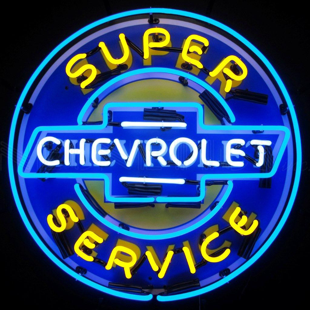 NEO-5CHEVYB-SUPER CHEVY SERVICE W BACKING NEON SIGN