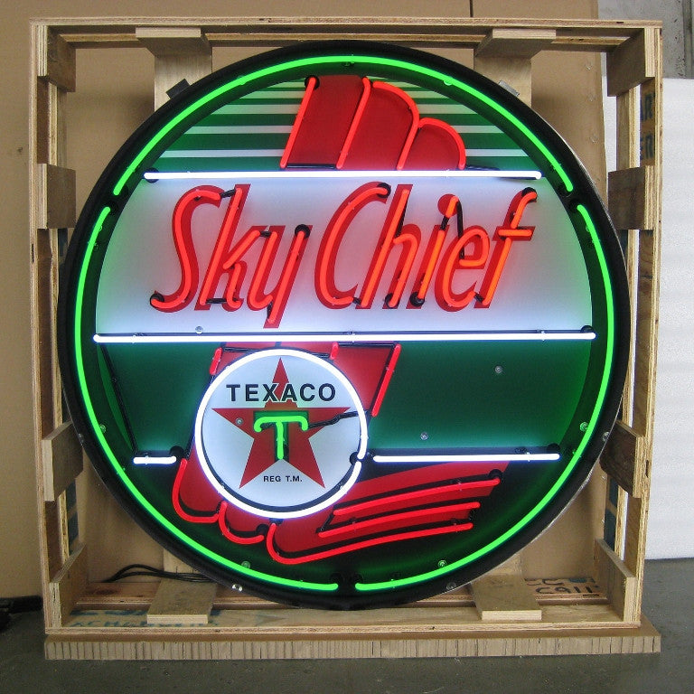 NEO-9TXSKY-TEXACO SKY CHIEF 36 INCH NEON SIGN IN METAL CAN