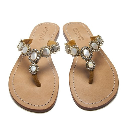 Mystique Gold & Mother Of Pearl Flat Sandals