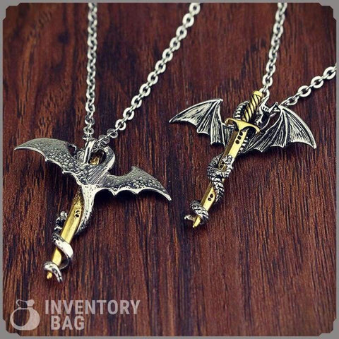 Dragon Sword Necklace - Viking Necklace Fantasy Jewelry Vikings