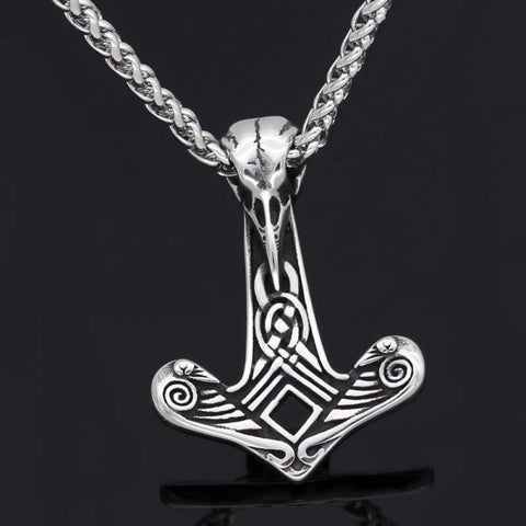 Raven Skull Mjolnir Necklace - Viking Necklace Jewelry Necklace Vikings
