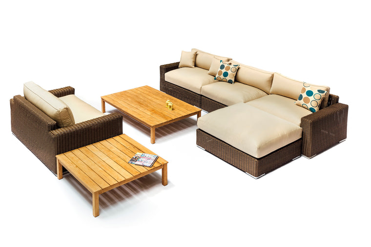 Mandalay Wicker and Teak Sofa Set