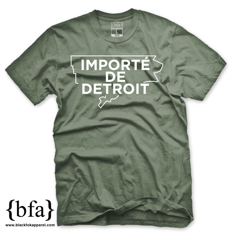 Importe de Detroit Military Green White T-shirt