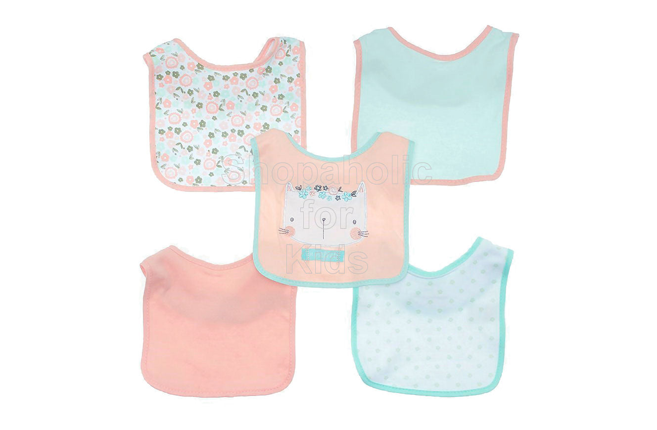 Chick Pea Coral Kitten & Floral Bibs, 5-pack - Shopaholic for Kids