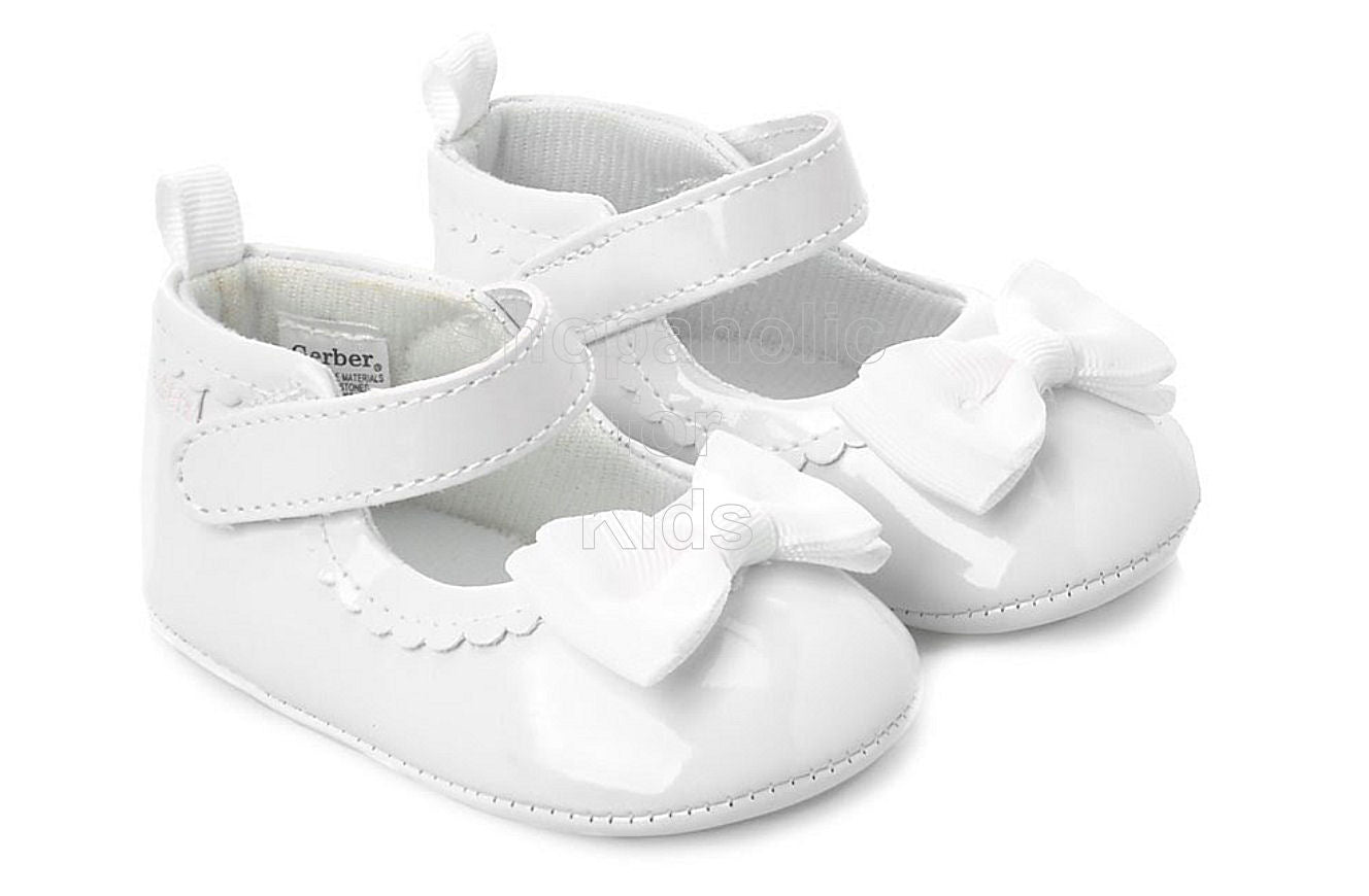 Gerber White Bow Back Patent Shoes for Baby Girl