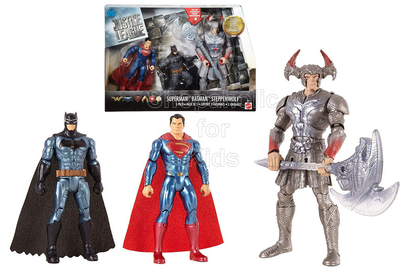 DC Comics Justice League Superman, Batman & Steppenwolf, 3 Pack Action Figures - Shopaholic for Kids