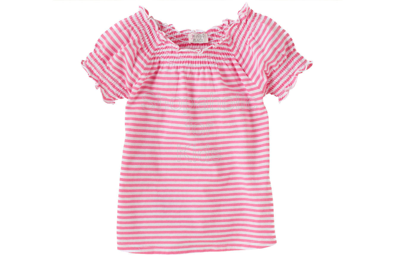 Children's Place Striped Smocked Top  Color: Tearose - Shopaholic for Kids