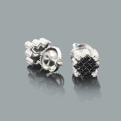 Black and White Diamond Stud Earrings 0.30ct Silver