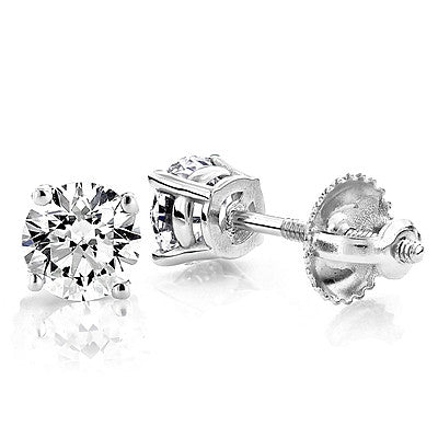1/2 CARAT 14K GOLD DIAMOND STUD EARRINGS ROUND DIAMONDS .5CT