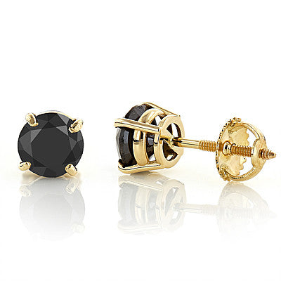 14K Gold Black Diamond Earrings Prong Set Studs 0.50ct