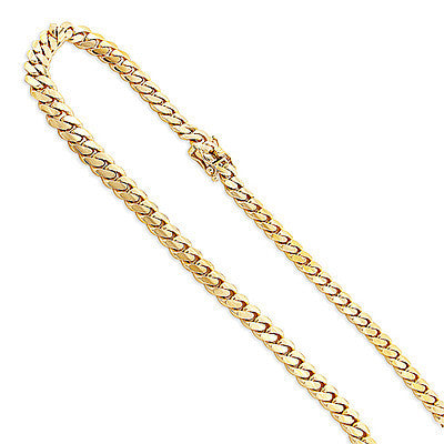 Yellow Gold Miami Cuban Link Curb Chain 14K 4mm 22-40in Acc