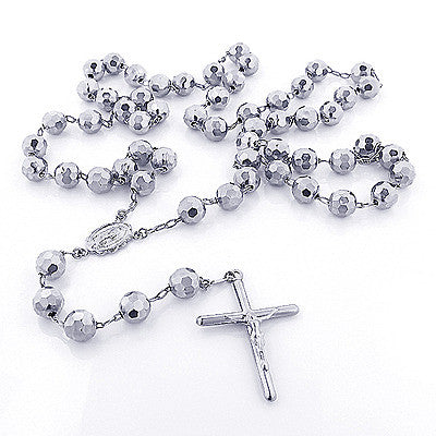 14K Solid White Gold Rosary Beads Necklace 7mm 30in Acc
