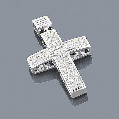10K Gold Diamond Cross Pendant 0.72ct