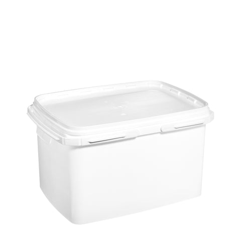 16Ltr White rectangular pail with plastic handle