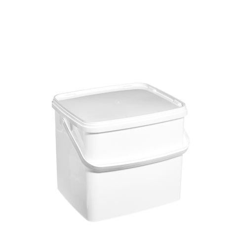 10Ltr White Rectangular Pail with Plastic Handle
