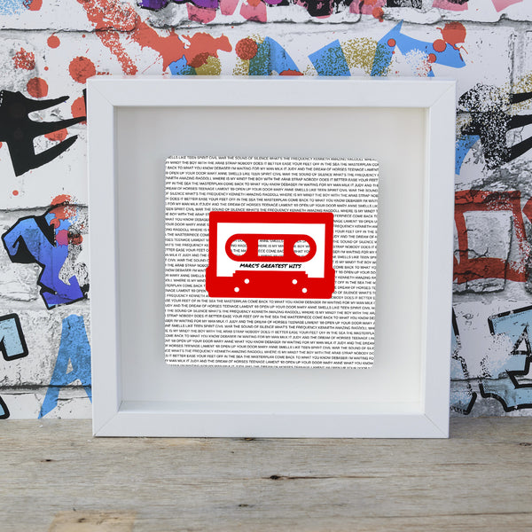 Mixtape / Playlist Cassette - Red on White - Mounted Box Frame Unique Personalised Gift Idea