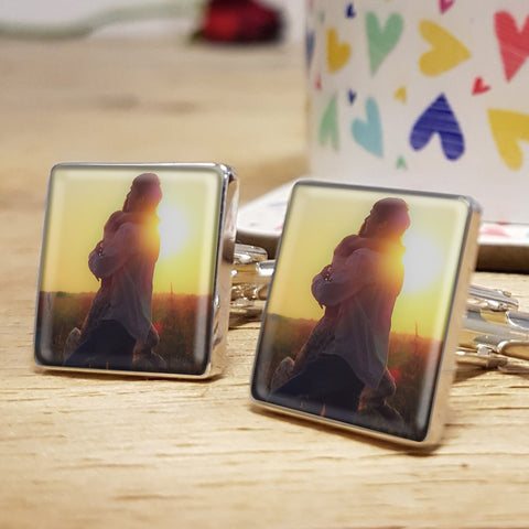 Photo Upload Cufflinks Gift for him. Valentine's Day, Anniversary or Birthday Gift - colour photo