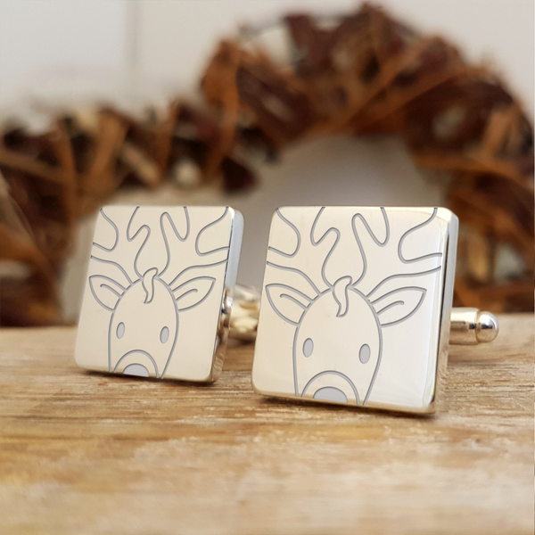 Rudolph Engraved Christmas Cufflinks Gift - Without Initials Personalisation