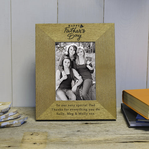 """Happy Hearts"" Fathers Day Engraved Wood Photo Frame"