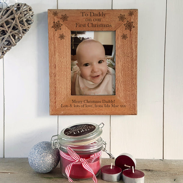 """Daddy on our first Christmas"" engraved photoframe personalised Christmas gift for daddy - Portrait"