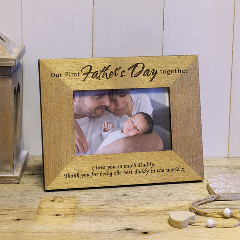 First Father's Day engraved wood photo frame - personalised father's day gift