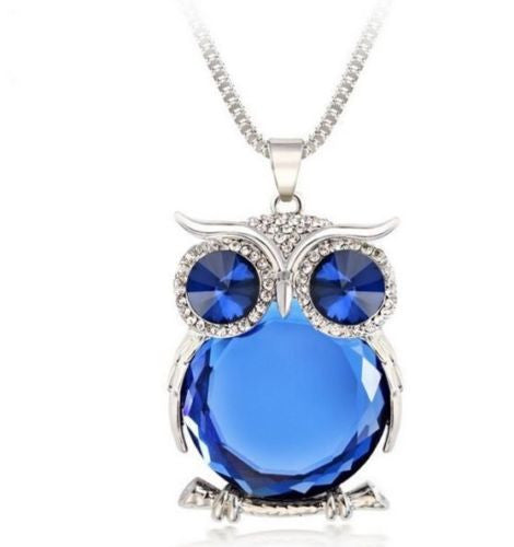 Trendy Owl Necklace Fashion Rhinestone Crystal Jewelry - ISaleuk