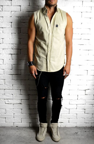 Alex Christopher Stone Sleeveless Shirt | Mens Sleeveless Shirts | ETTO Boutique
