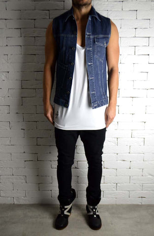 Blue Denim Biker Sleeveless Shirt | Cut Off Jacket | ETTO Boutique
