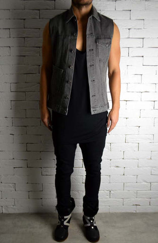 Grey Denim Biker Sleeveless Shirt | Cut Off Jacket | ETTO Boutique